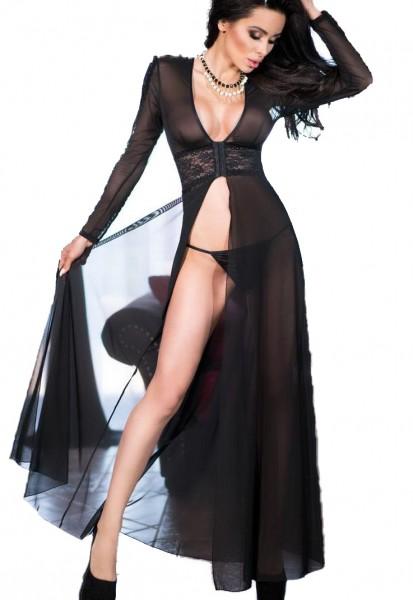 Lange Dessous Robe Morgenmantel und String in schwarz aus Tüll und Spitze langarm transparent