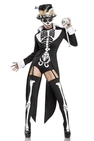 Damen Voodoo Priesterin Fantasy Kostüm Skelett Verkleidung aus Frack, Body, Zylinder und Strümpfe Ze