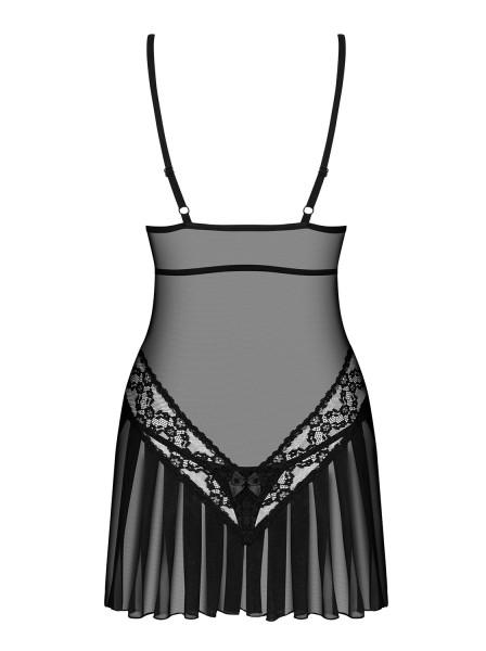 Damen Dessous Reizwäsche Chemise Hemdchen Negligee in schwarz transparent mit Netz und String