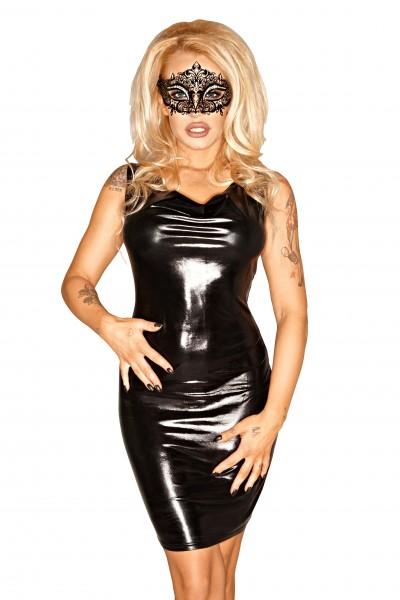 Schwarzes Damen Dessous wetlook fetisch Minikleid in schwarz rückenfrei Kleid erotisch