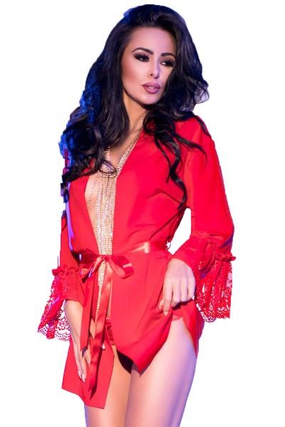 Damen Dessous Chemise in rot Negligee Mantel mit Spitze und String zum binden langarm