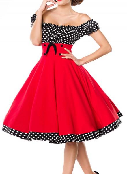 Rot schwarzes kurzes Swing Kleid im tiefem Schnitt mit Teilungsnaht und Tellerrock weiß gepunktet un
