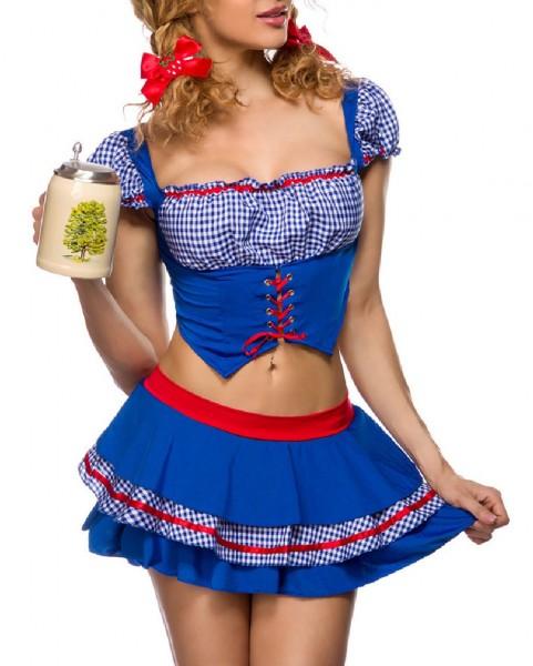 Damen Oktoberfest Bayernmädl Kostüm Verkleidung mit Oberteil und Rock in Westenoptik