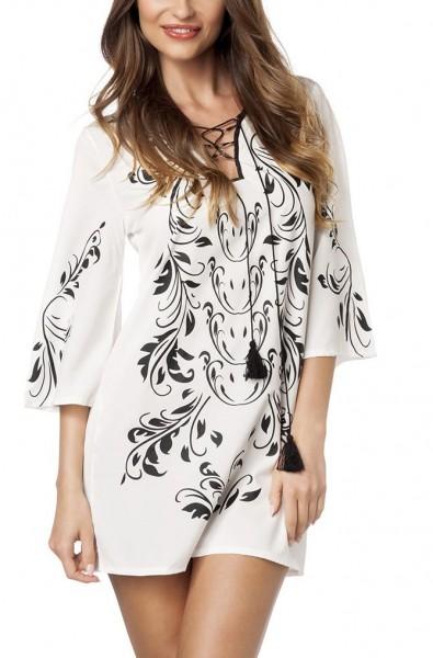 Schwarz weiße Tunika mit Schleifenbindung und V-Ausschnitt lange Ärmel und Orient Muster Lang-Bluse