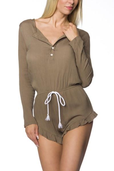 Damen Playsuit Hosenrock in beige Anzug Jumpsuit kurz langärmlig mit Rundhalsausschnitt