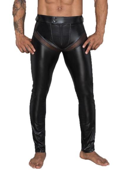 Herren Wetlook-Longpants schwarz mit Einsätzen und Taschen aus Netzmaterial lange Männer Gogo und fe