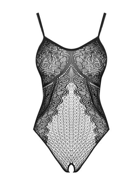 Frauen Dessous Teddy schwarz transparent ouvert Damen Body elastisch gemustert Strick-Material flora