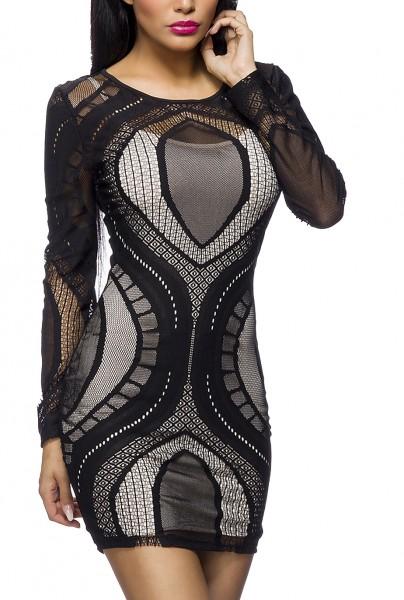 Schwarzes Minikleid aus Netzstoff mit langen Ärmeln und Unterkleid in Kontrastfarben S-L Onesize
