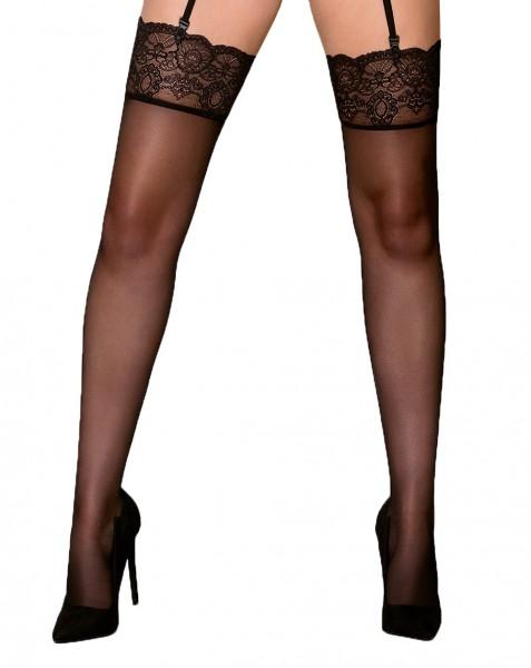 Damen Dessous Stockings für Strumpfhaltergürtel schwarz transparent mit Spitze Straps-Strümpfe