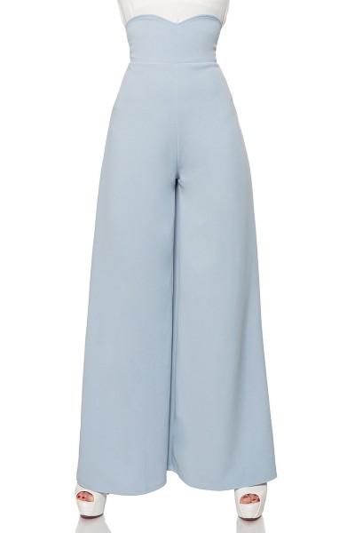 Hellblaue weite Schlaghose herzförmiger Bundabschluss mit High Waist und Reißverschluss an der Hinte