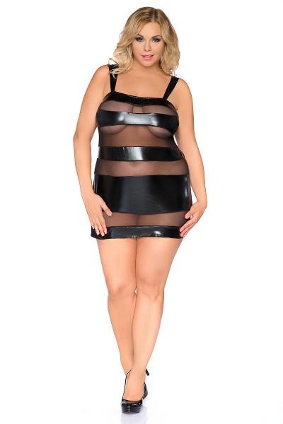 Damen Dessous wetlook Chemise Negligee in schwarz XXL Minikleid erotisch
