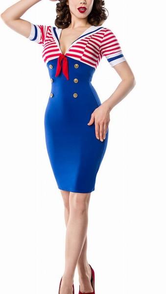 Blaues Marine Pencilkleid gestreift mit kurzen Ärmeln und Schleife Kellerfalte Knöpfen Vintagekleid