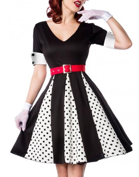 Godet Kleid mit weißen gepunkteten Keilen und rotem Gürtel V-Ausschnitt Rockabilly Kurzarm Damen Ret