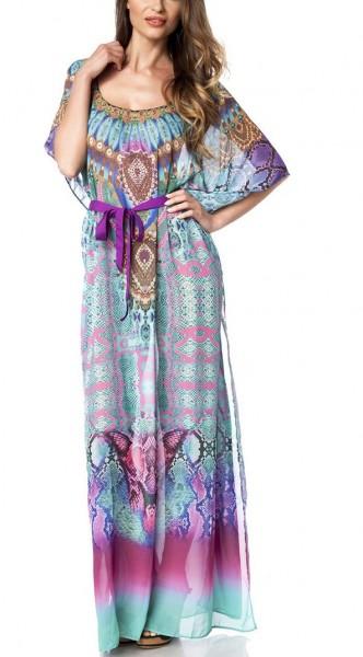 Türkis pinker Langer Kaftan mit buntem Muster aus Strass mit Schlitz und kurzen Ärmeln Strandkleid