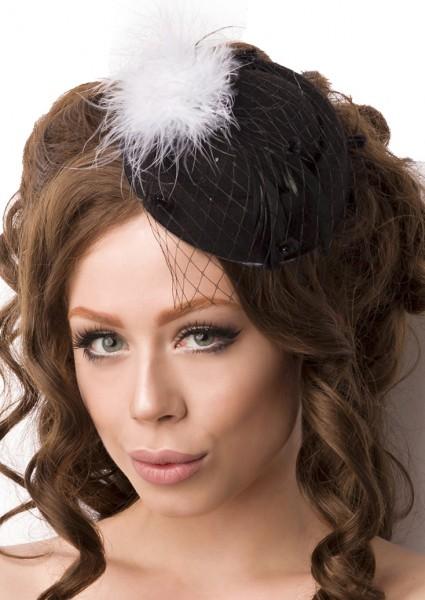Schwarz Weißer Damen Minihut Filzhut Trachtenhut mit Netz und Federn Abendmode Verkleidung Fascinato
