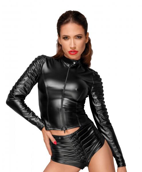 Schwarze Damen wetlook Jacke mit handgemachten Zierfalten, Kragen und Reißverschluss Gogo Jacke kurz