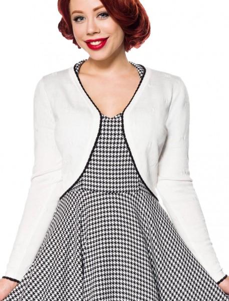 Weiße kurze Damen Strick-Jacke mit langen Ärmeln und Rundhalsausschnitt Bolero Retro Weißer Saum Vin