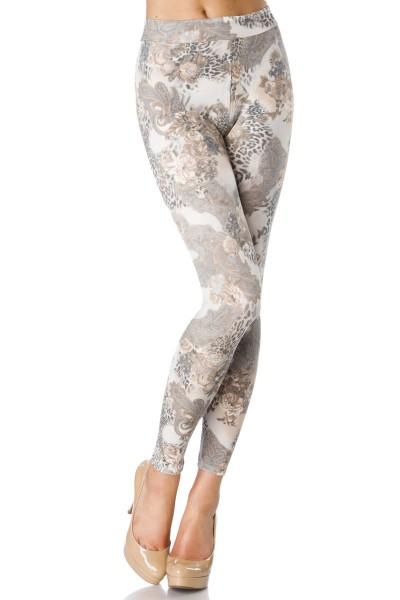 Helle blickdichte Damen Legging mit Paisleymuster und Tierdruck Print Legging breiter Bund