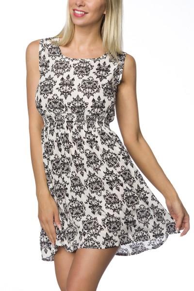 Sommerkleid bunt gemustert knielang Kleid mit Rundhalsausschnitt und Gummibund luftig leicht