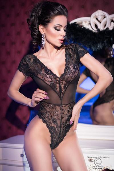 Damen Dessous Reizwäsche Body Top Spitze schwarz aus Tüll transparent Rückenfrei