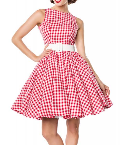 Rotes kurzes Swing Kleid im High Waist Schnitt mit Gürtel und Tellerrock weiß kariert und schulterfr