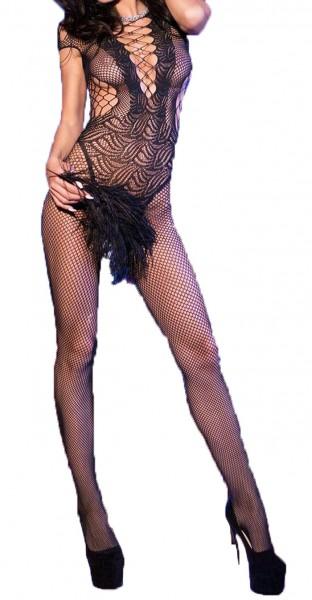 Damen Bodystocking in schwarz transparent aus Netz-Material gemustert elastisch One Size S/M