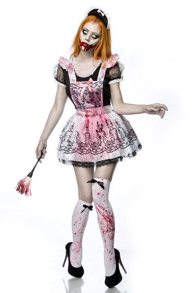 Horror Maid Zimmermädchen Kostüm Verkleidung aus Kleid, Wedel, Haarreif, Kunstblut, Stockings in sch