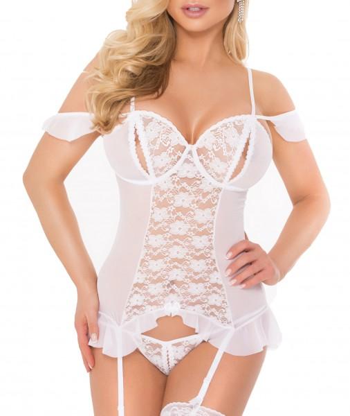Damen Dessous Strapshemd und String in Weiß transparent aus Tüll und Spitze ouvert gemustert Bänder