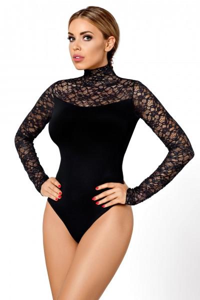 Damen Dessous Reizwäsche Body mit Spitze schwarz erotisch mit Hakenverschluss
