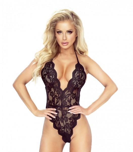 Schwarzer erotischer Damen Dessous Body aus Spitze transparent elastisch Neckholder Body