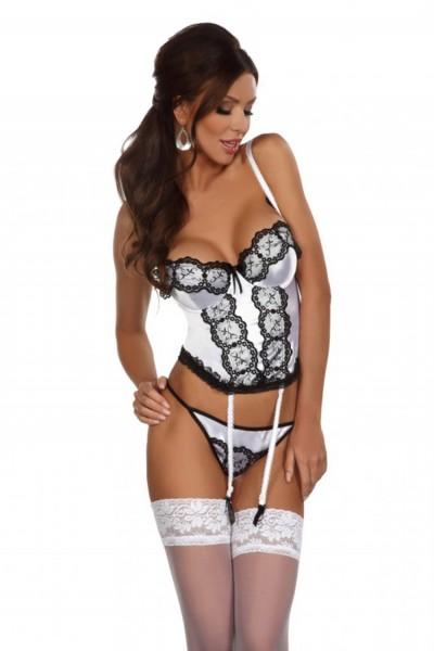 Erotisches Damen Dessous Corset Strapshemd aus Satin und Spitze mit Bügel Cups inkl String Slip