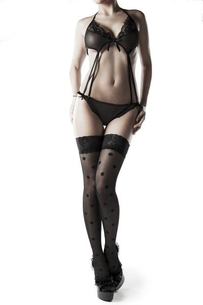 kurzer Damen Neckholder Body mit Strümpfen teiltransparent mit Spitze