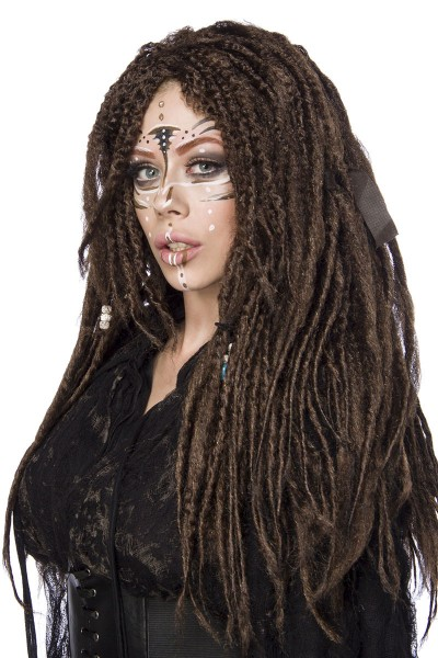 Braune Damen Langhaar Perücke Wig mit Dreadlocks Haar überlanger Pony Perücke Verkleidung eingefloch