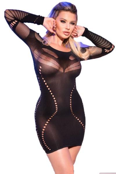 Damen Dessous Mini-Kleid in schwarz Gogo-Kleid mit Löcher transparent langarm elastisch OneSize S-M