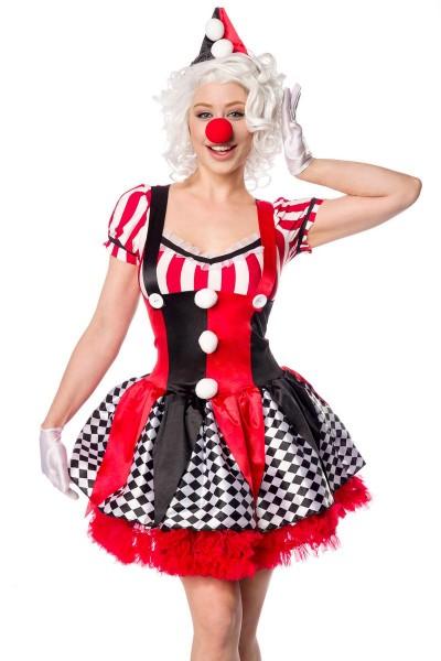 Damen Clown Outfit Kostüm Verkleidung mit Kleid, Hut, Petticoat, Nase und Fliege in bunt Joker S-L