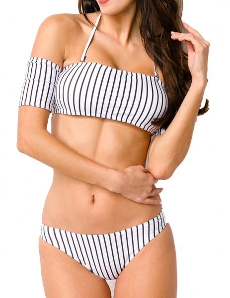 Damen Neckholder Bikini mit Streifen Muster Bademode Carmen-Ausschnitt kurze Ärmel Optik