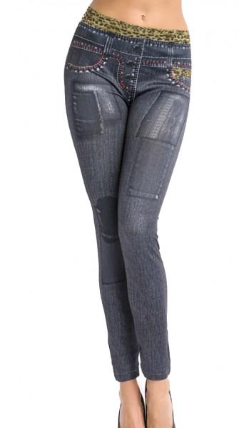 Schwarze Jeans Leggings mit Flicken und Leopard Print und Waschung Design Taschen Druck elastische L