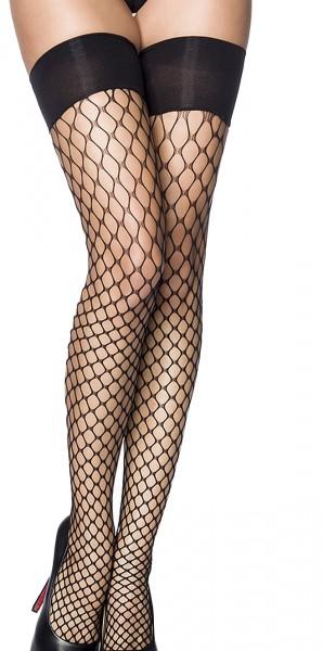 Schwarze halterlose Netz Strümpfe mit Bündchen Netz Stockings