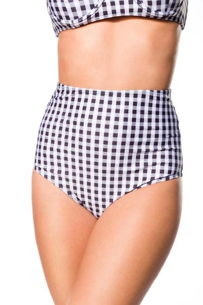 Elastischer Damen Bikiniunterteil Höschen Panty Beinausschnitt und Karo Muster schwarz weiß High Wai