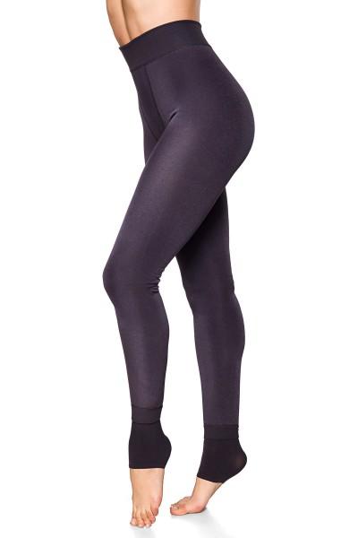 Graue Damen Leggings mit flauschiger Innenseite und warm haltend hoch geschnitten enge Stoffhose One