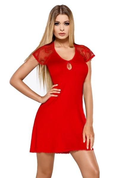 Rotes Damen Dessous Nachtkleid Schlafanzug mit Spitze Negligge kurzarm