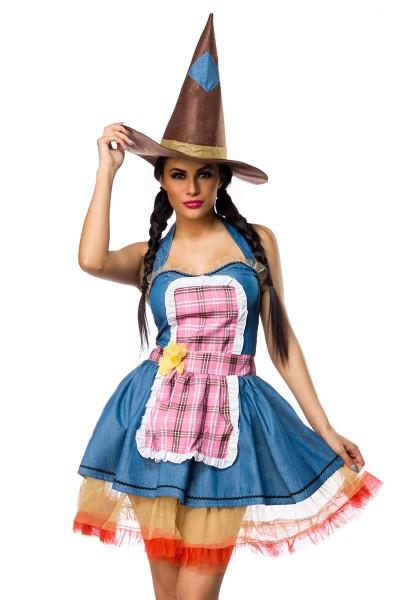 Damen Vogelscheuchen Outfit Kostüm Verkleidung mit Kleid, Schürze, Hut und Petticoat in bunt Hexen O