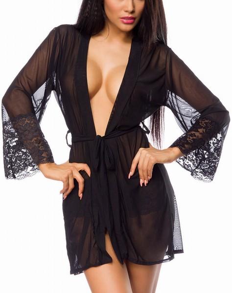 transparenter Kimono aus Netz mit Spitze an den Ärmeln zum binden
