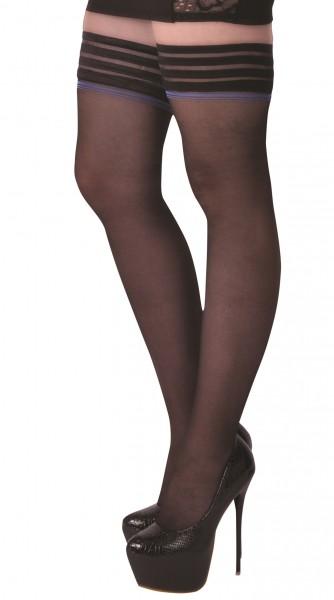 Halterlose Damen Dessous Strümpfe schwarz mit Gummiband selbsttragend 20 den