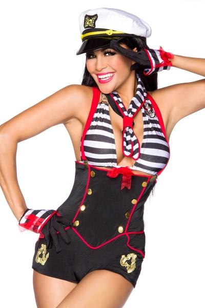 Damen Marine Kostüm gestreift mit Short Top Halstuch Handschuhen und Haarreif