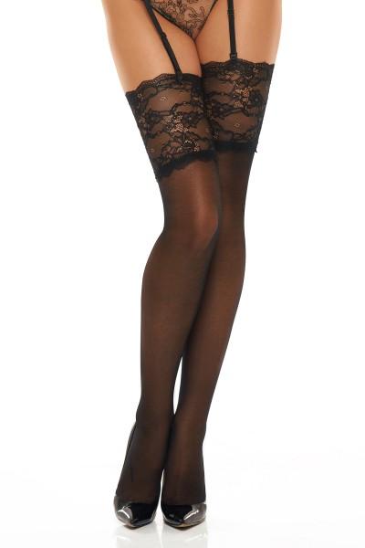 Schwarze transparente Strümpfe Stockings aus Blumen Muster mit breiten Rand Blumenmuster Spitzen-Str