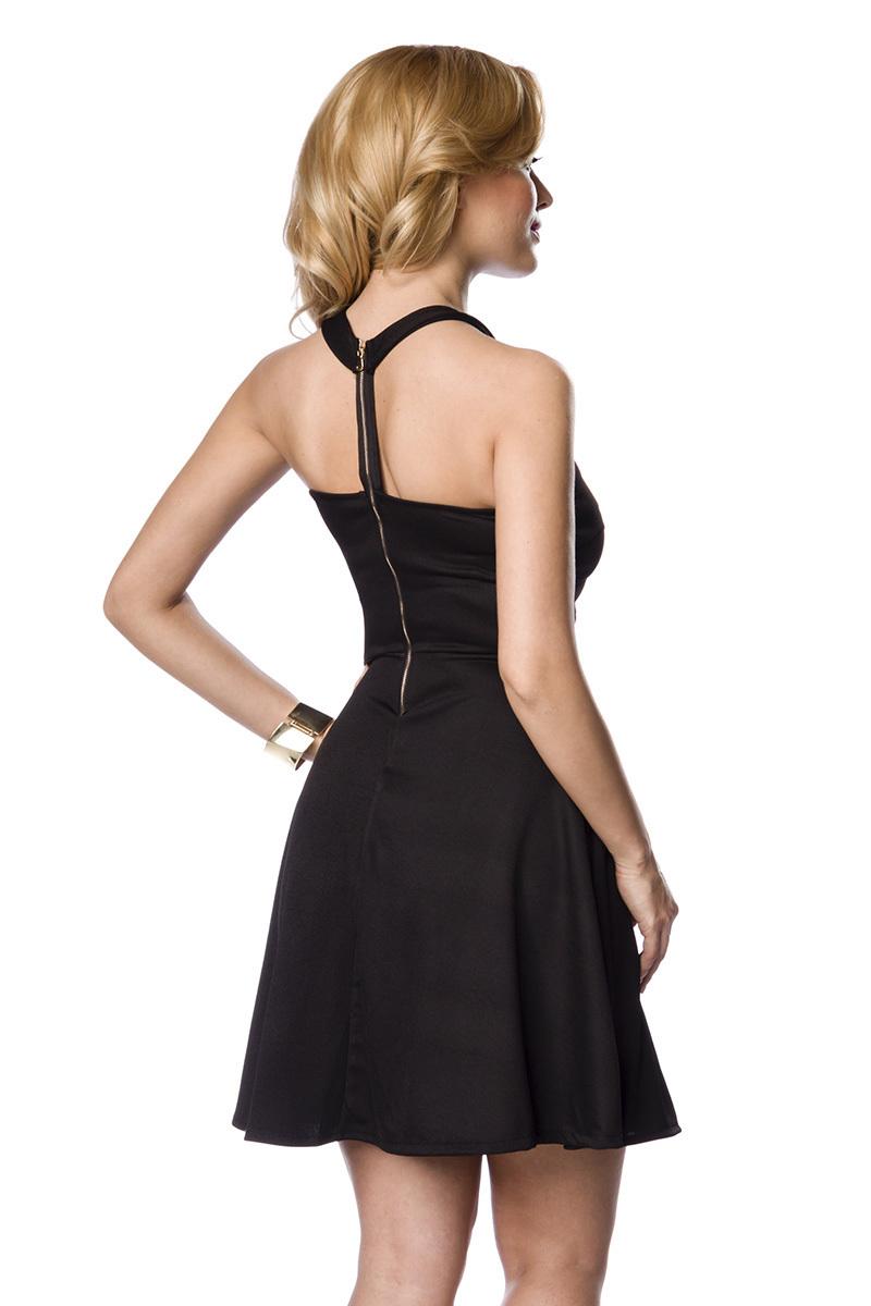 Elegantes enges Abendkleid schwarz mit Taillienband neckholder  Cocktailkleid Größe S/M