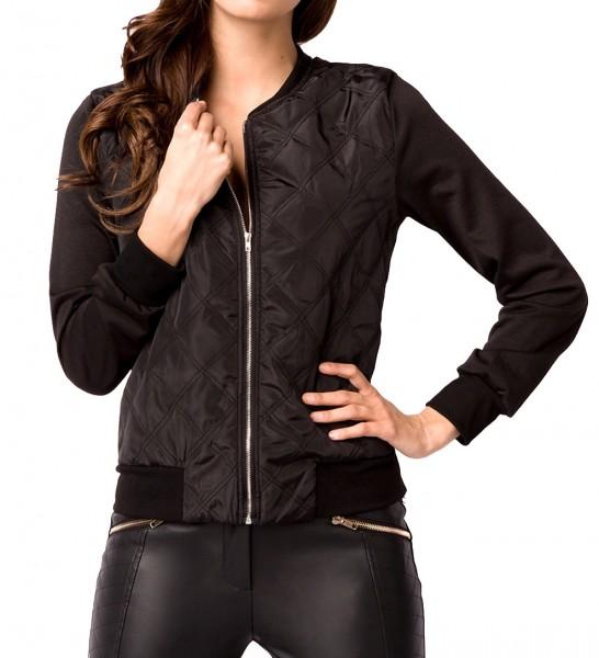 Schwarze kurze Damen Jacke mit Rippbündchen Reißverschluss vorn Brusttasche vorn Steppjacke