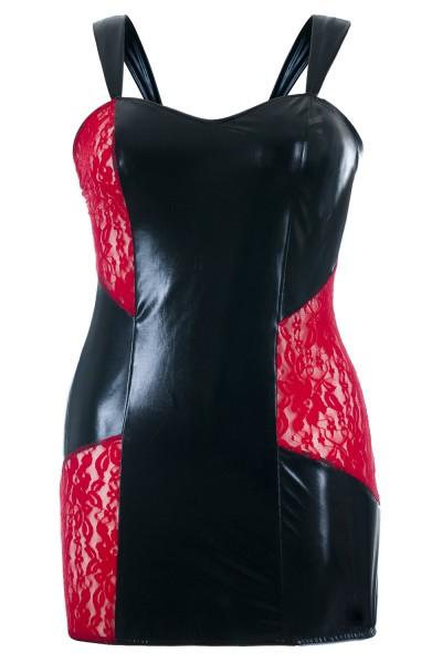 Schwarzes Wetlook Chemise transparent mit roter Spitze Damen Negligee XXL Plus Size