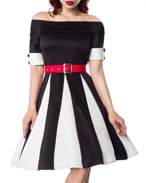 Schwarzes Godet Kleid mit weißen Keilen und rotem Gürtel Schulterfrei Rockabilly Kurzarm Damen Retro